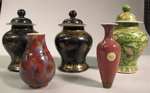 Lot 31 - Five Chinese glazed porcelain vases