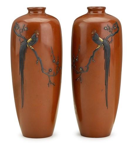 Lot 71 - Fine pair of Japanese bronze vases