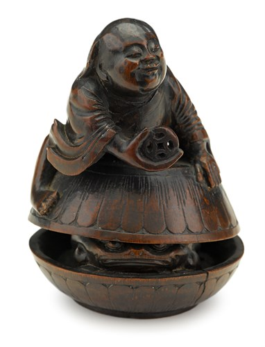 Lot 10 - Chinese bamboo carving of Liuhai