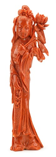 Lot 21 - Chinese coral figural carving