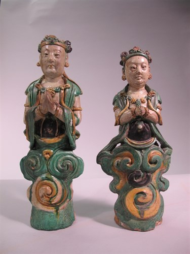 Lot 35 - Two Chinese sancai glazed stoneware bodhisattvas