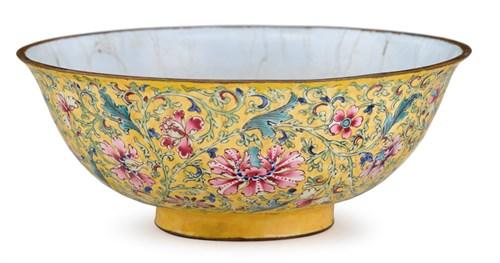 Lot 29 - Chinese Beijing enamel yellow ground bowl