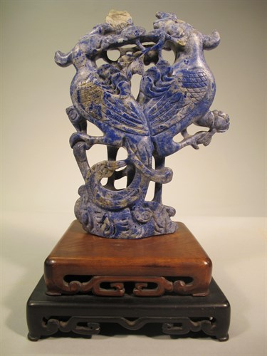 Lot 16 - Chinese lapis lazuli double phoenix carving
