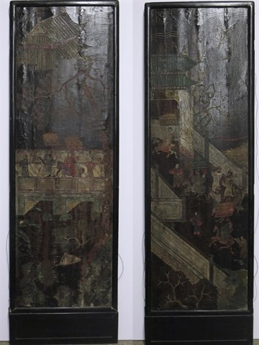 Lot 7 - Two Chinese coromandel carved lacquered floor screen panels