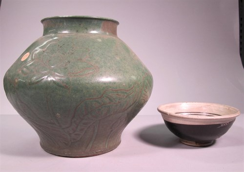 Lot 45 - Two chinese glazed ceramic vessels