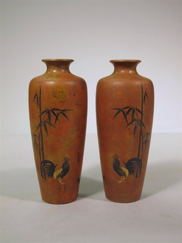 Lot 75 - Pair japanese patinated bronze vases
