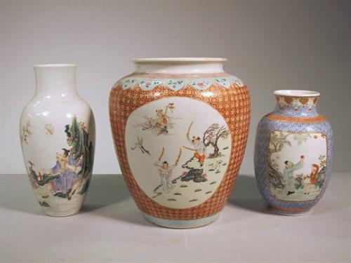 Lot 64 - Three Chinese enameled porcelains vases