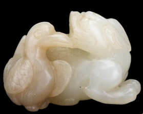 Lot 17A - Chinese celadon jade goose and fu lion carving