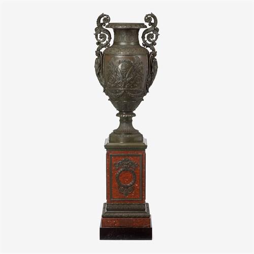 Lot 210 - Monumental Napoleon III bronze twin handled urn on rouge griotte marble pedestal
