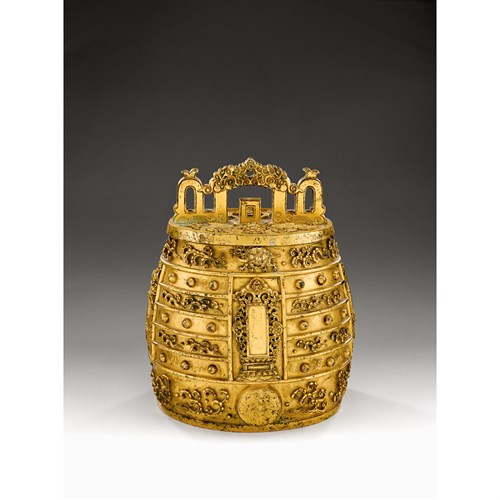 Lot 65 - A rare and important Chinese gilt bronze ritual bell, Bianzhong