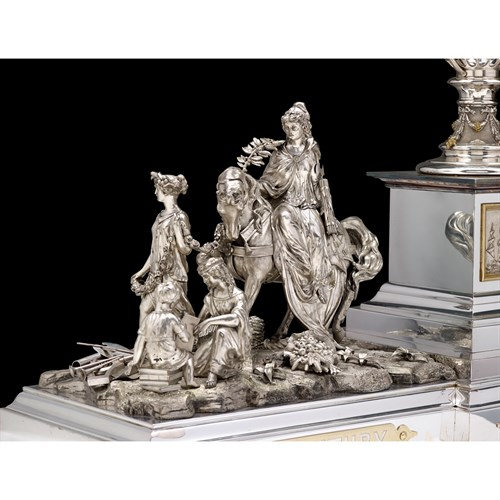 Lot 266 - The Progress Vase: A Magnificent Sterling Silver and Silver-plated Centerpiece