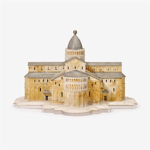 Lot 57 - Grand Tour alabaster and slate model of the cathedral at Pisa