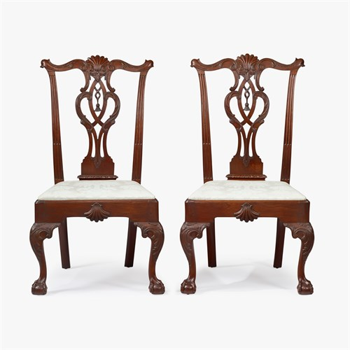 Lot 51 - The Justice Samuel Chase pair of fine Chippendale carved mahogany tassel-back side chairs