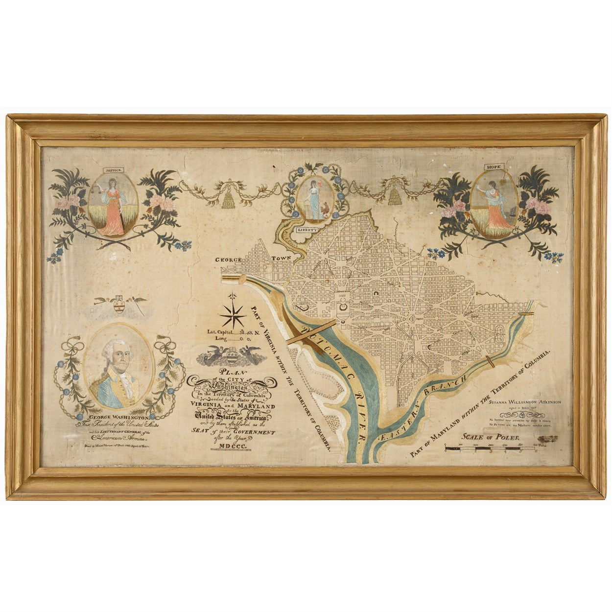 Lot 86 - Rare embroidered plan of the City of Washington in the Territory of Columbia