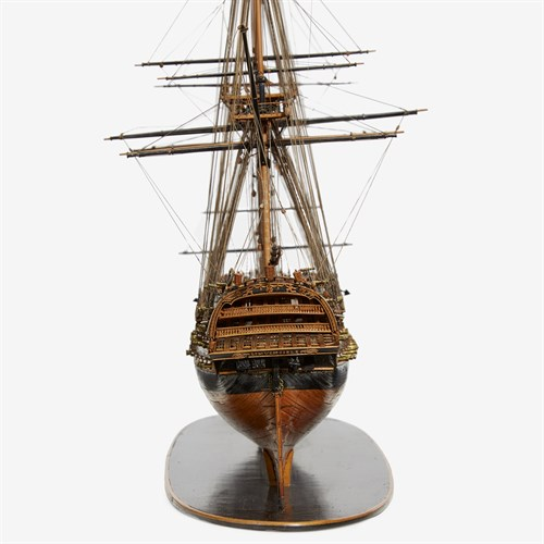 Lot 201 - A fine Napoleonic prisoner-of-war built boxwood model of the 74-gun  ship-of-the-line L'Invincible