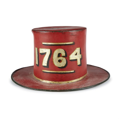 Lot 148 - Painted and decorated leather and felt parade hat for the Franklin Fire Company