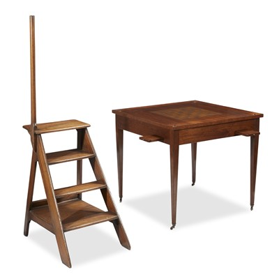 Lot 98 - A contemporary games table and library steps