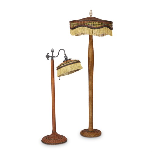 Lot 67 - Two polychrome painted wicker floor lamps