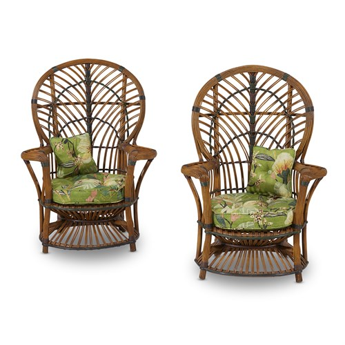 """Lot 57 - A rare pair of child's rattan and stick wicker """"Peacock"""" armchairs"""