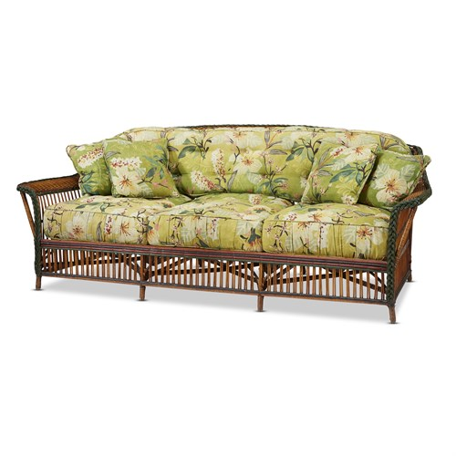Lot 44 - A polychome painted and upholstered rattan sofa