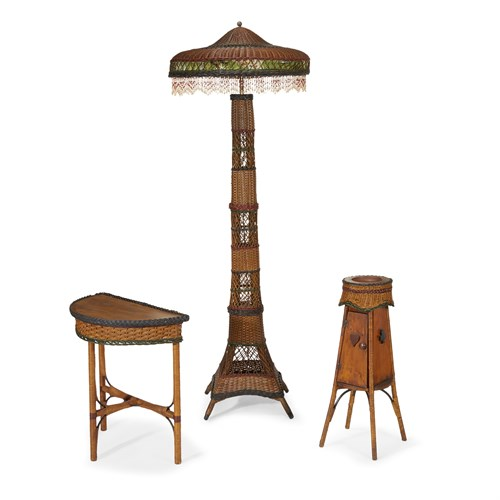 Lot 66 - A polychrome painted wicker floor lamp, demilune side table and smoker's stand