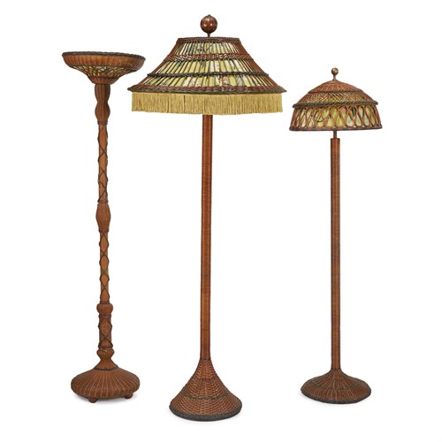 Lot 50 - Three polychrome painted wicker floor lamps