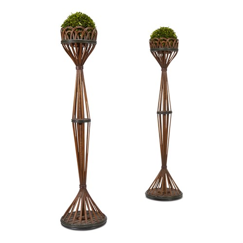 Lot 70 - A pair of tall polychrome painted rattan plant stands