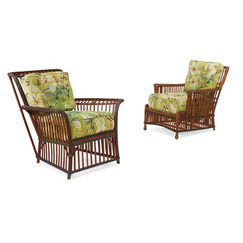 Lot 49 - Two polychrome painted rattan lounge chairs