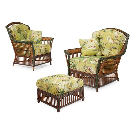 Lot 42 - A near pair of polychrome painted rattan lounge chairs and an ottoman