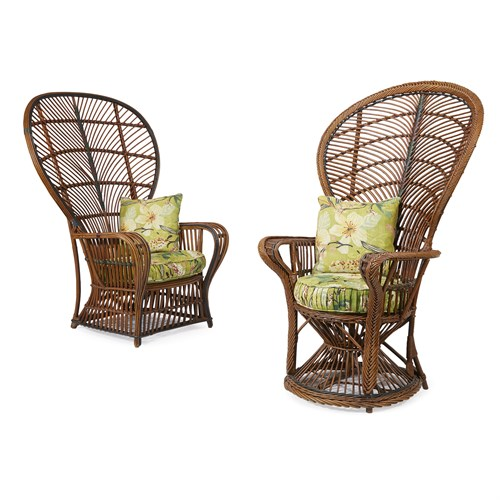 """Lot 56 - A related pair of polychrome painted rattan """"Peacock"""" chairs"""