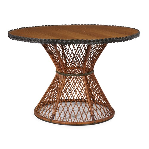 Lot 74 - A polychrome painted rattan and oak center table