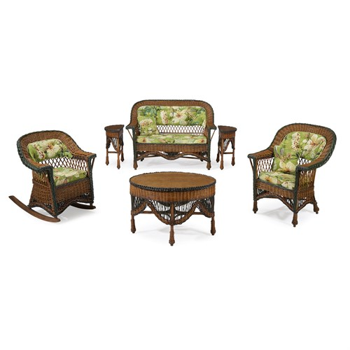 Lot 59 - A seven-piece child's polychrome painted rattan and wicker parlor suite