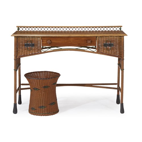 Lot 61 - A polychrome painted rattan and oak console table and wastepaper basket