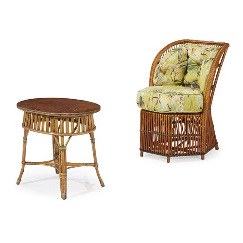 Lot 47 - A polychrome painted rattan chair and side table