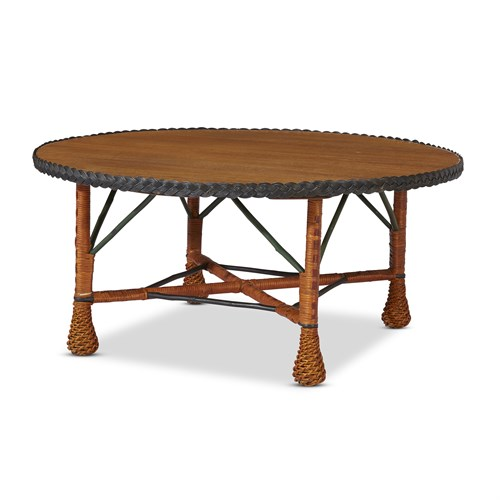 Lot 51 - A large polychrome painted wicker and oak center table
