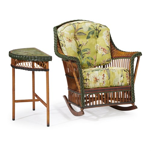 Lot 68 - A polychrome painted wicker and rattan rocker and demilune side table