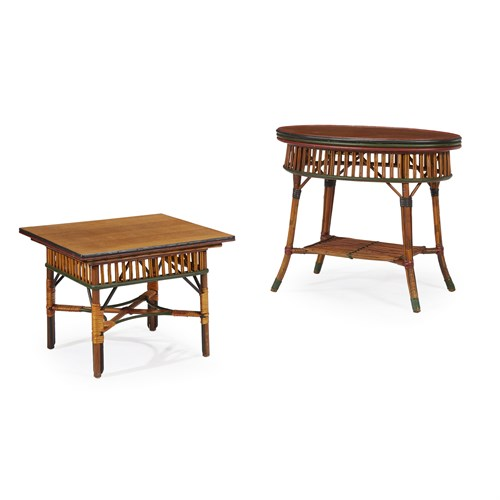 Lot 46 - Two polychrome painted rattan and oak occasional tables