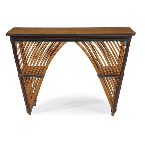 Lot 48 - A polychrome painted rattan and oak library table