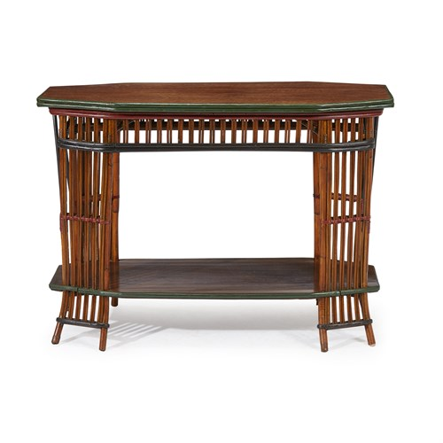 Lot 65 - A polychrome painted rattan and oak console table