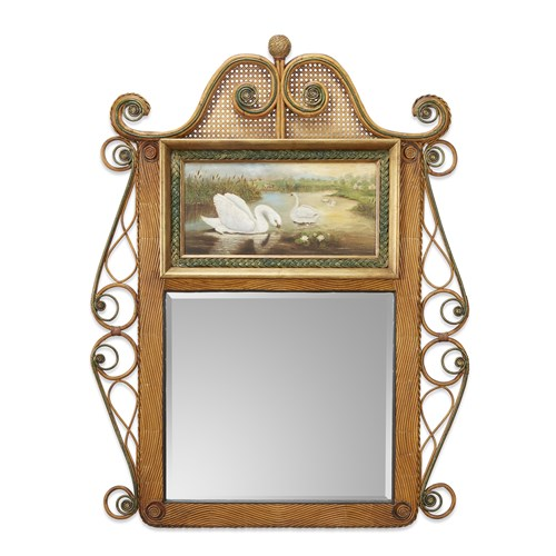 Lot 63 - A large polychrome painted rattan and cane mirror with swans