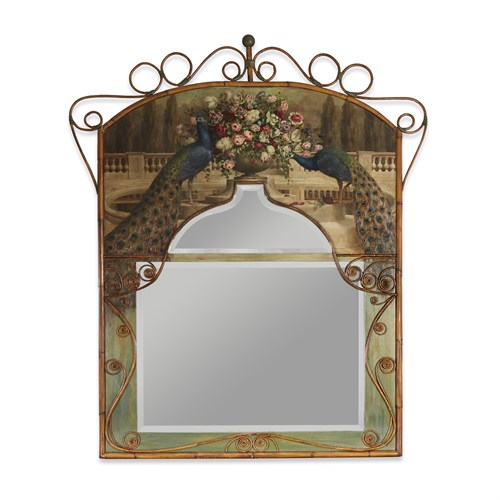 Lot 52 - A large polychrome painted stick and ball rattan mirror with peacocks