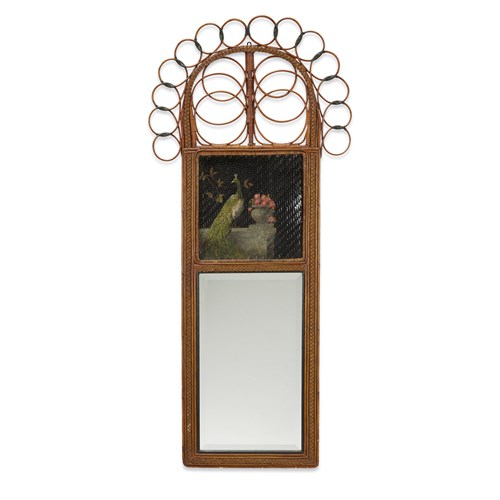 Lot 55 - A polychrome painted rattan and wicker mirror with peacocks