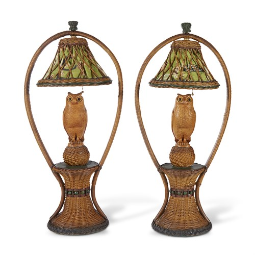 Lot 60 - A pair of polychrome painted, carved wood and fabric-lined tables lamps with owls