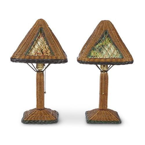 Lot 64 - A pair of polychrome painted wicker and fabric-lined table lamps