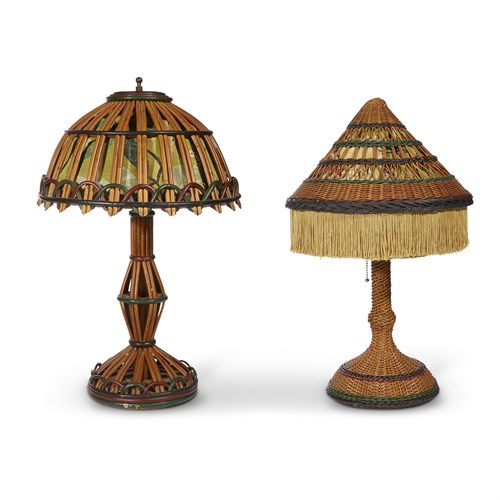 Lot 45 - Two polychrome painted wicker and rattan fabric-lined table lamps
